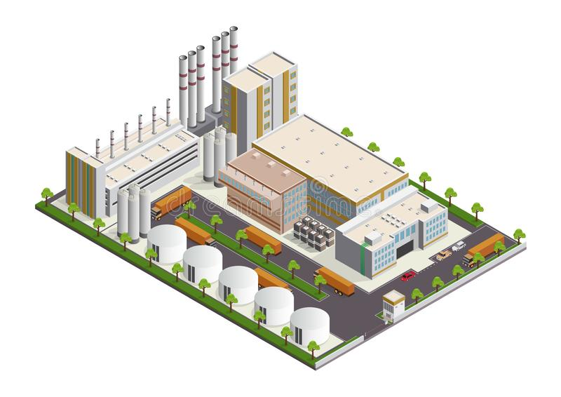 Isometric Industrial buildings composition with view of the facilities royalty free illustration