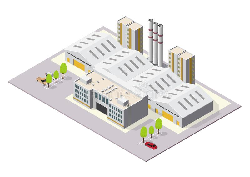 Isometric Industrial or factory buildings royalty free illustration