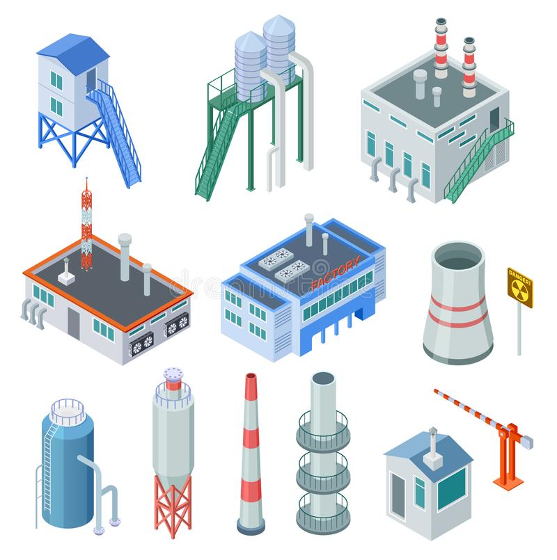 Isometric industrial buildings. Factory building power station industrial zone equipment 3d isolated vector set vector illustration