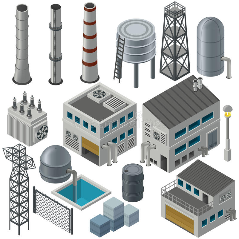 Isometric industrial buildings and other objects royalty free illustration