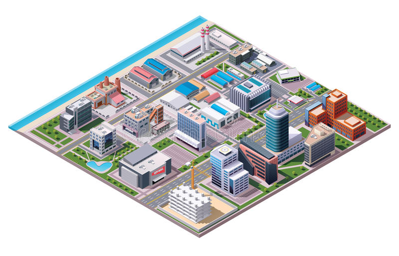 Isometric industrial and business city district map vector illustration