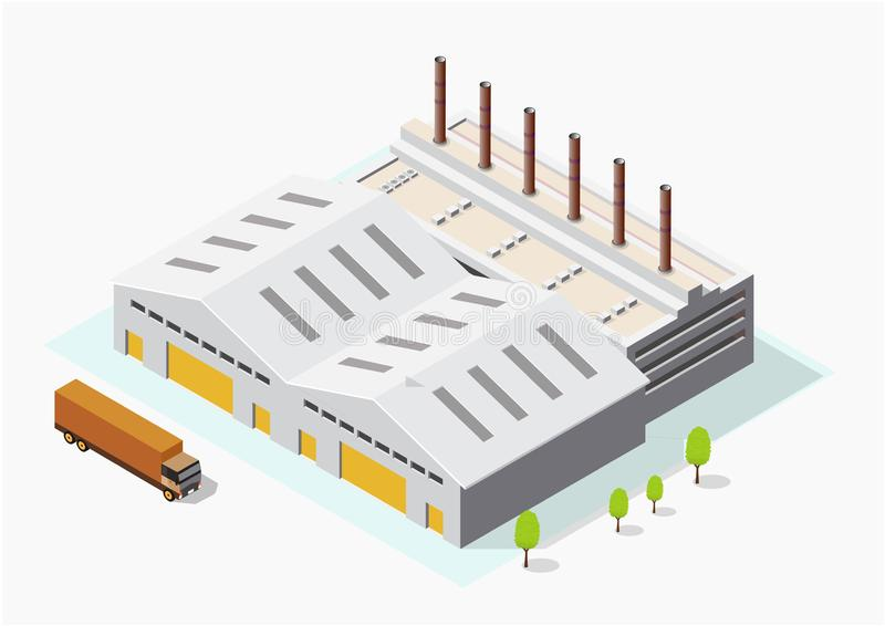 Isometric Industrial or factory buildings vector illustration