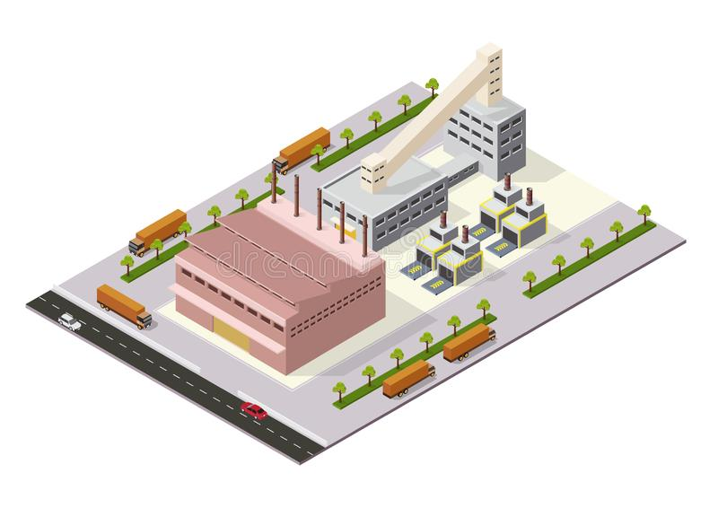 Isometric Industrial or factory buildings stock illustration