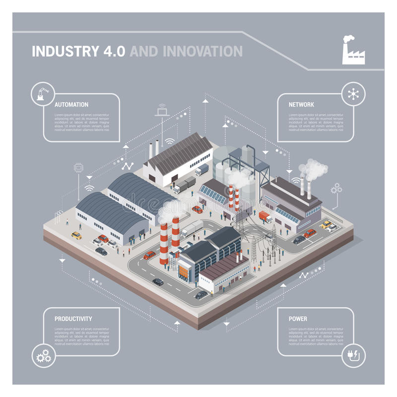 Isometric industrial park infographic vector illustration