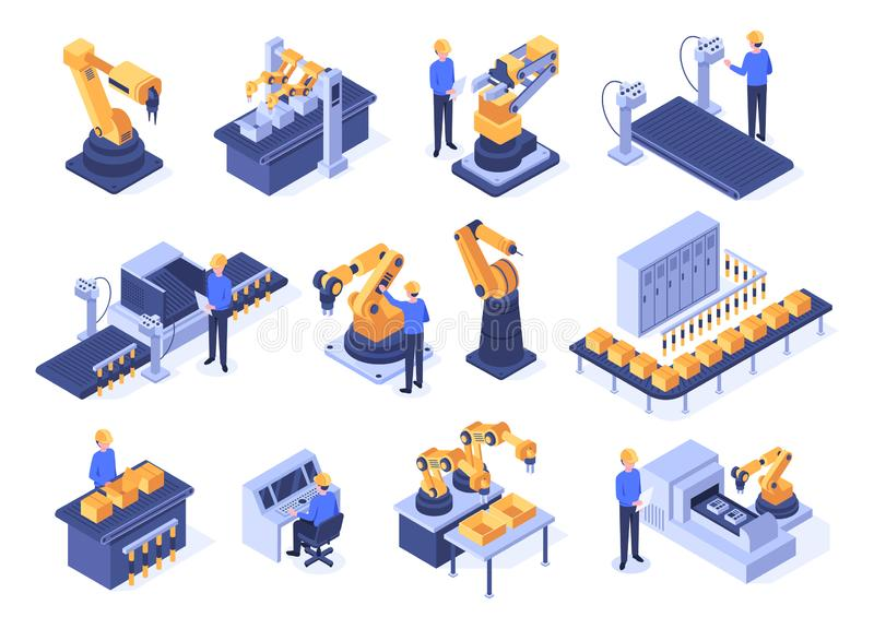 Isometric industrial robots. Assembly line machines, robotic arms with engineer workers and manufacturing technologies stock illustration