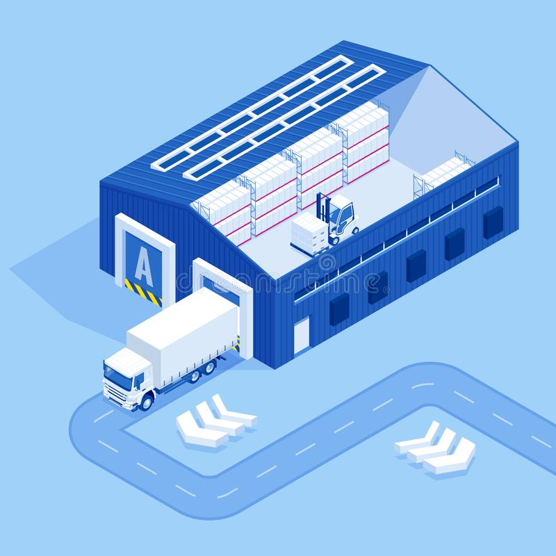 Isometric Industrial Warehouse Loading Dock. Truck with Semi Trailers Load Merchandise. stock illustration