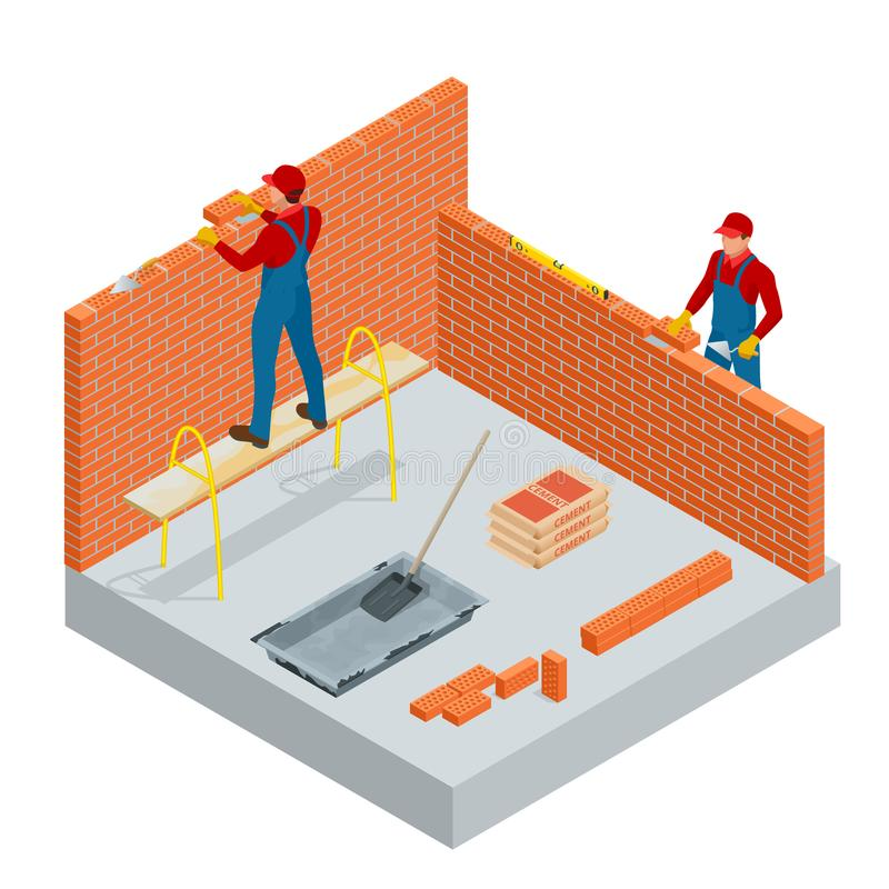 Isometric industrial worker building exterior walls, using hammer and level for laying bricks in cement. Construction vector illustration
