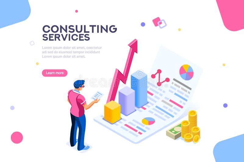 Consult Concept Administration Corporate Isometric Vector royalty free illustration