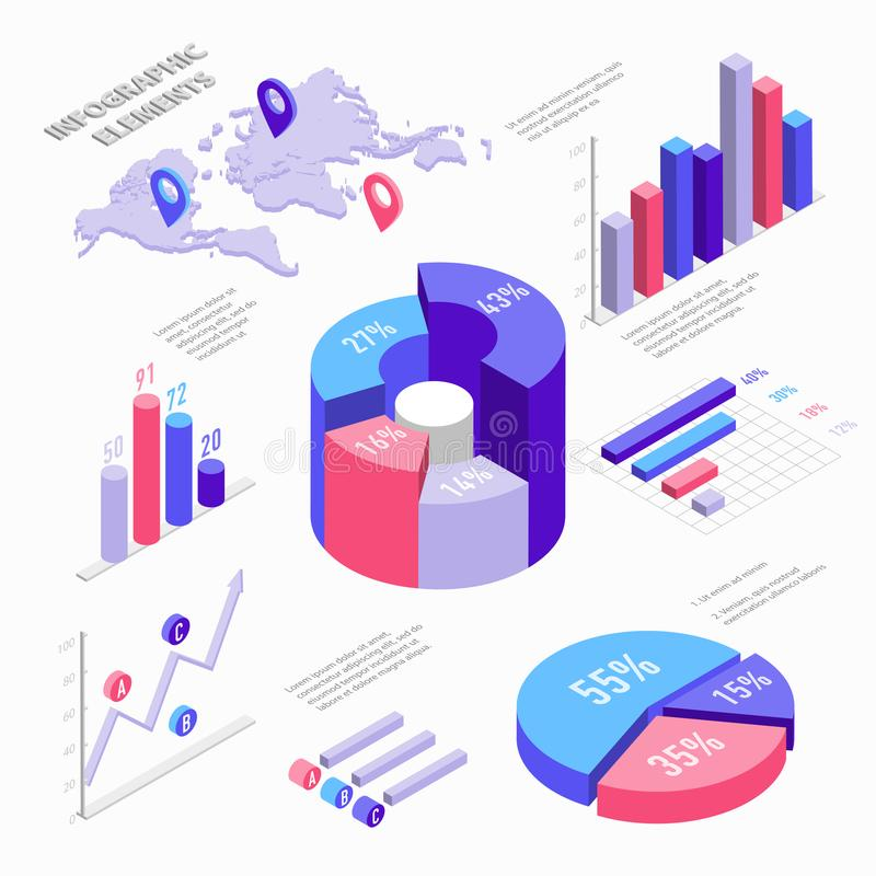 Isometric infographic elements with charts diagram pie chart royalty free vector download isometric infographic elements with charts diagram pie chart world map with pins gumiabroncs Images