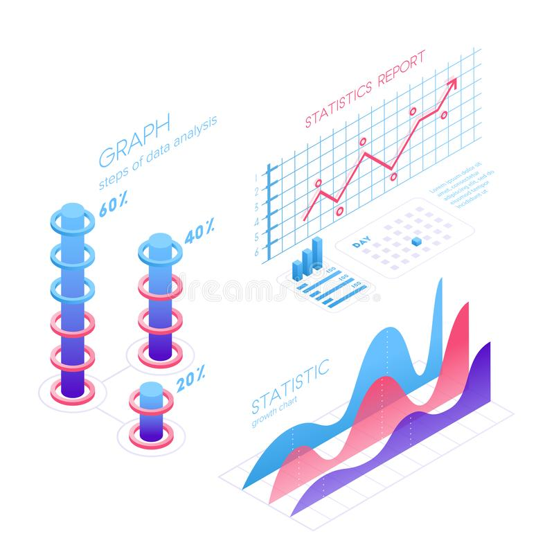 Isometric infographic elements with charts, statistics, data visualization, analysis, report, bar diagrams, graphs in. Flat 3D design isolated on white vector illustration