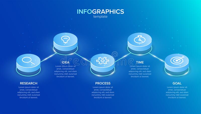 Isometric infographic label template with icons. 5 options or steps. Infographics for business concept. Can be used for. Info graphics, flow charts royalty free illustration