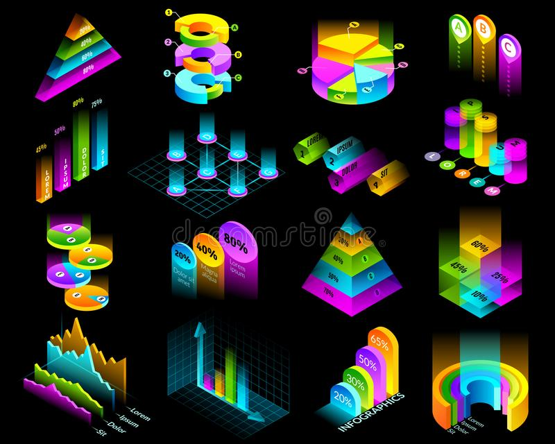 Isometric infographic luminescencyjni elementy ustawiający royalty ilustracja