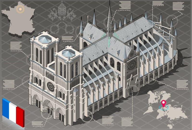 Isometric Infographic notre dame de paris - HD ilość ilustracja wektor