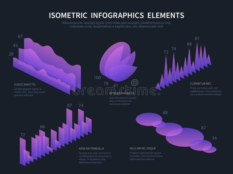Isometric infographics elemnts Biznesowe grafika, statystyki dane mapy i pieniężni prętowi diagramy, 3D Infographic royalty ilustracja