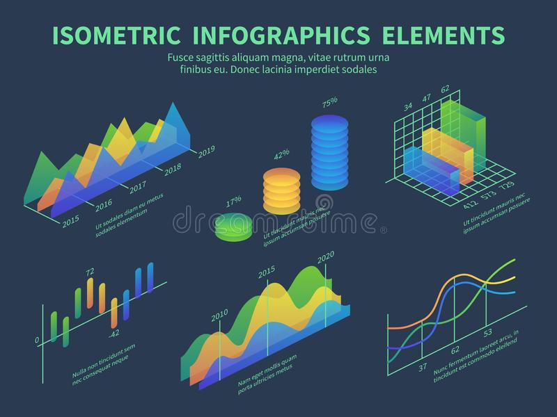 Isometric infographics. Presentation graphics, statistics data layer charts and marketing bar diagrams. 3d isometric royalty free illustration