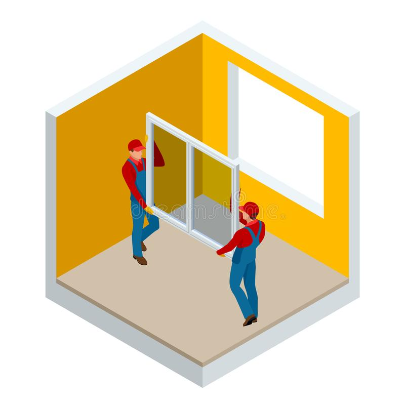 Isometric installation of windows in the house or apartment concept. Two workers in blue work clothes set a new window. In the window frame. Construction royalty free illustration