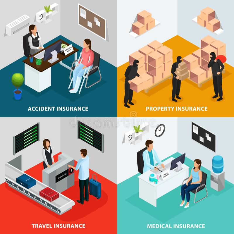 Isometric Insurance Case Concept vector illustration