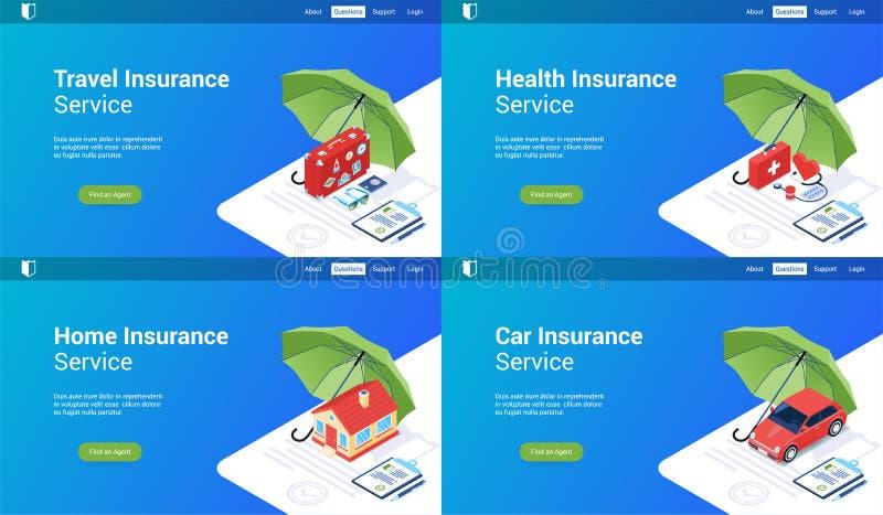 Isometric insurance set 02 vector illustration