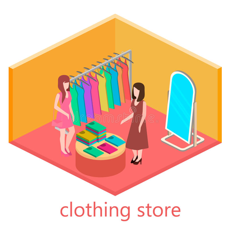 Isometric interior of clothes shop stock photo