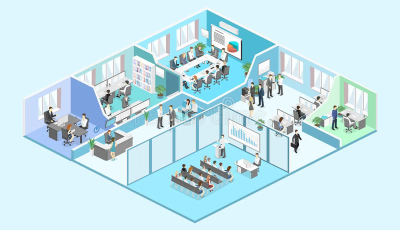 Isometric interior departments concept vector. conference hall, offices, workplaces royalty free illustration