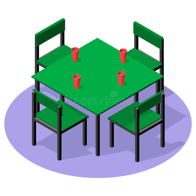Download Isometric Interior Furniture   Dinner Table With Drinks And Four  Chairs Stock Vector   Illustration