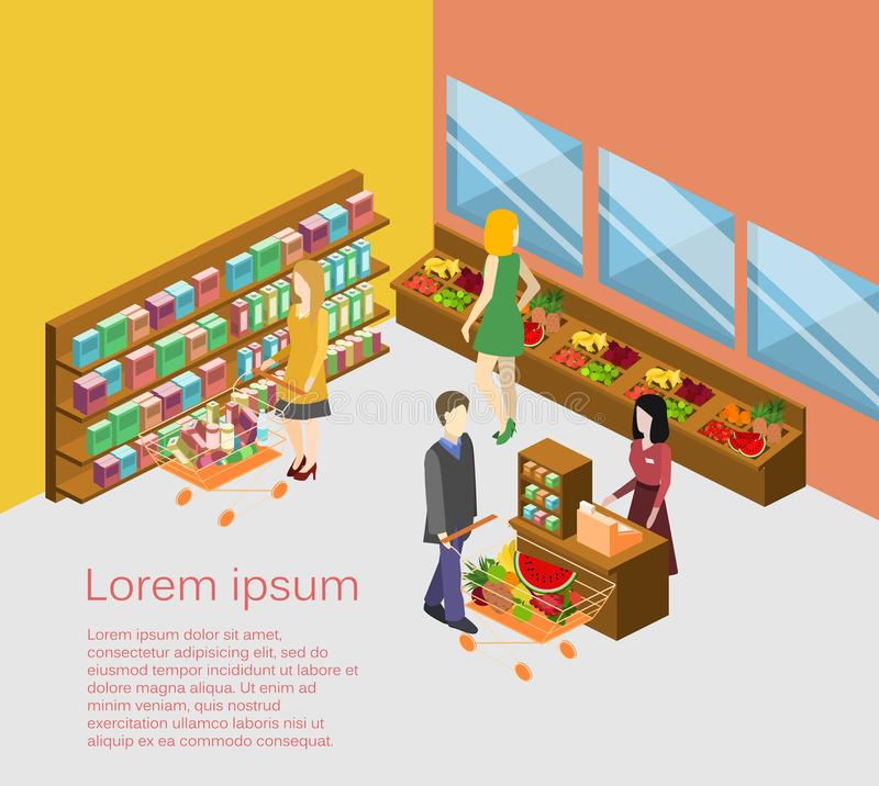 Isometric interior of grocery store. Shopping mall flat 3d illustration. royalty free illustration