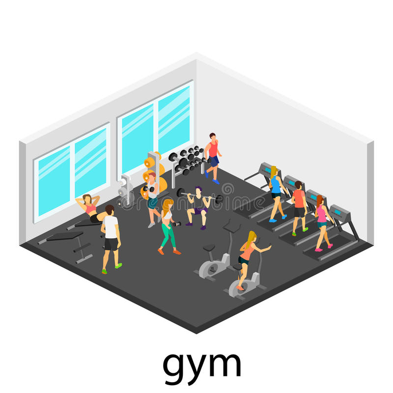 Isometric interior of gym stock illustration