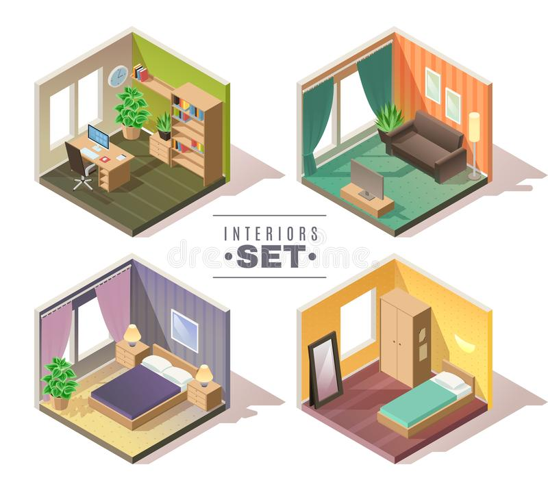 Isometric interiors set stock illustration