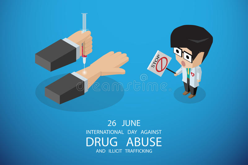 Isometric international day against drug abuse and illicit trafficking, vector illustration stock images