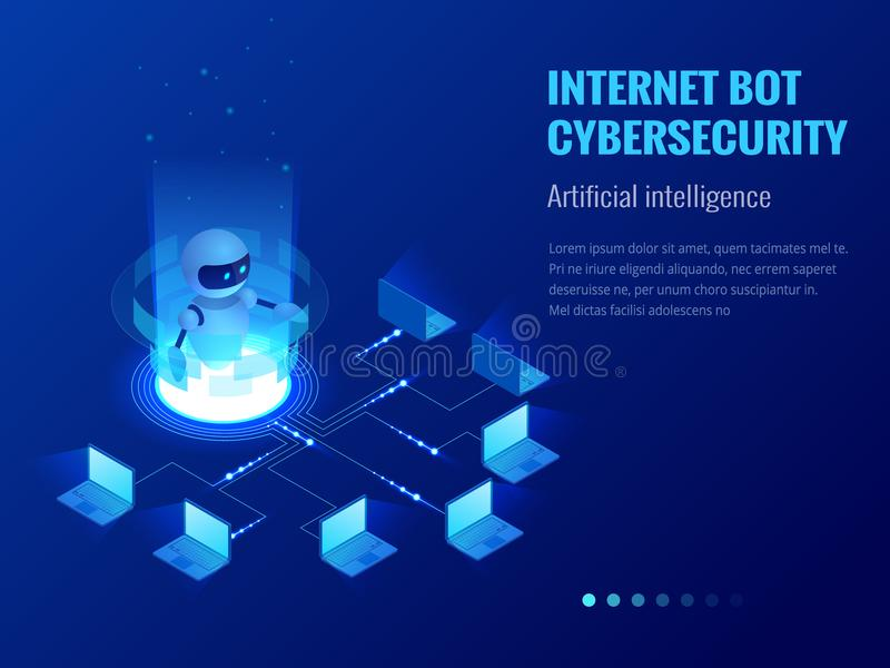 Isometric Internet bot and cybersecurity, artificial intelligence concept. ChatBot free robot virtual assistance of. Website or mobile applications. Vector royalty free illustration