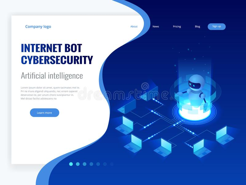Isometric Internet bot and cybersecurity, artificial intelligence concept. ChatBot free robot virtual assistance of stock illustration
