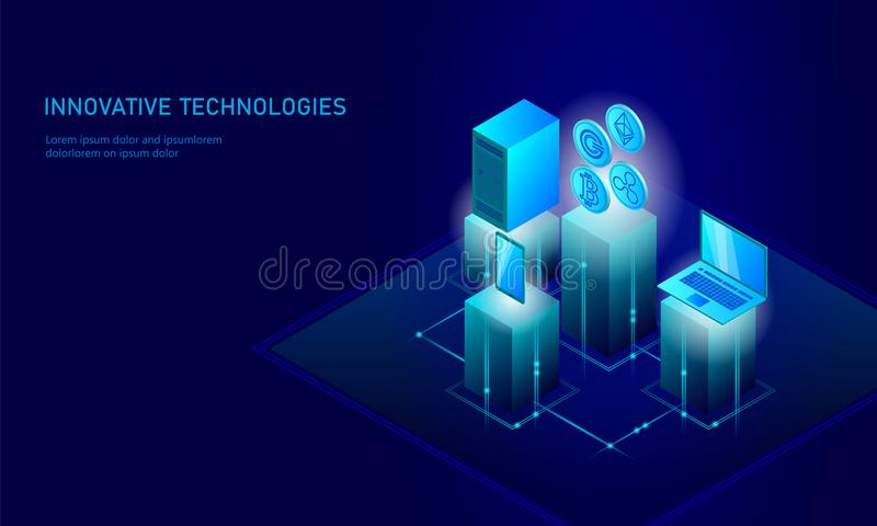 Isometric internet cryptocurrency coin business concept. Blue glowing isometric Bitcoin Ethereum Ripple GCC coin finance stock illustration