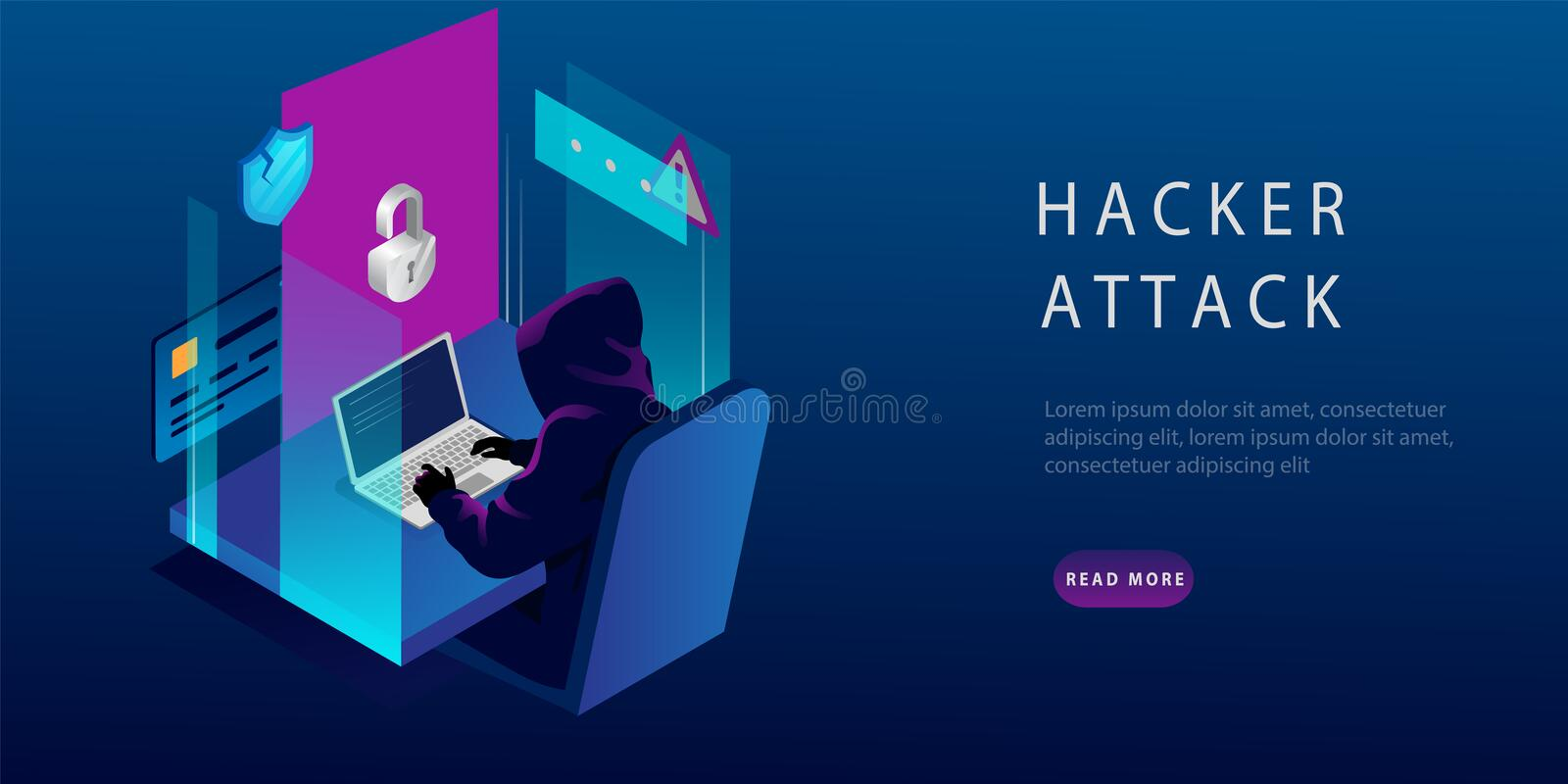 Isometric Internet Hacker Attack and Personal Data Security Concept. The Hacker at the Computer. Computer Security. Technology. E-mail Spam Viruses, Bank stock illustration