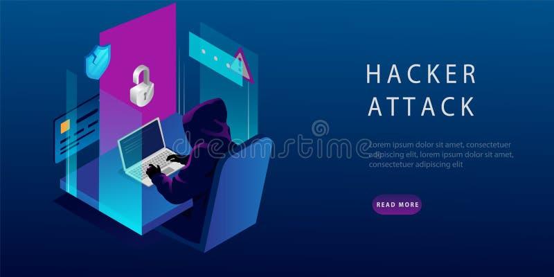 Isometric Internet Hacker Attack and Personal Data Security Concept Hacker på datorn Datorsäkerhet stock illustrationer