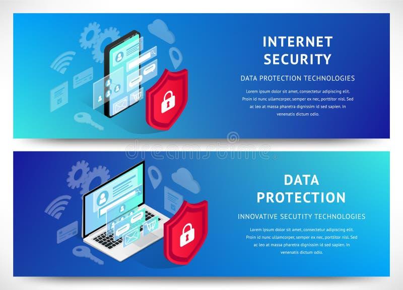 Isometric internet ochrony smartphone sztandarów horyzontalny set ilustracja wektor