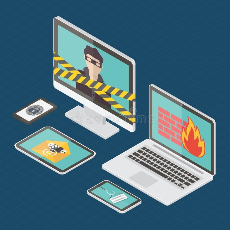 Isometric internet ochrony wektor royalty ilustracja