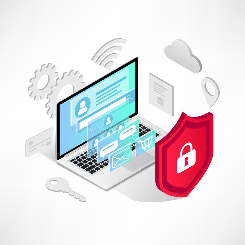 Isometric internet security laptop isolated icons. Isometric internet security concept. Data protection vector illustration with laptop, 3d screen, icons and vector illustration