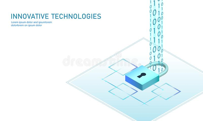 Isometric internet security lock business concept. Blue glowing isometric personal information data connection pc. Smartphone future technology. 3D infographic stock illustration
