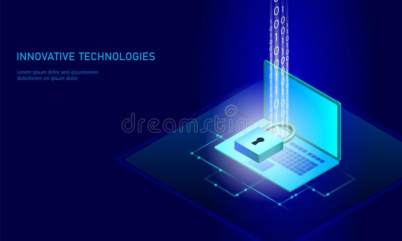 Isometric internet security lock business concept. Blue glowing isometric personal information data connection pc stock illustration