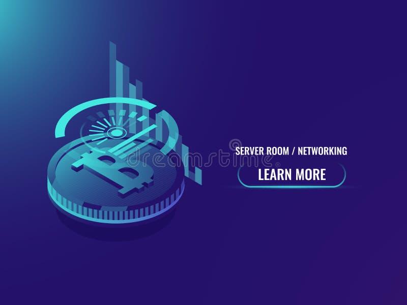 Isometric inwestycja w cryptocurrency, analiza, statystyki, bitcoin rozkład i mapa wektor, ilustracji