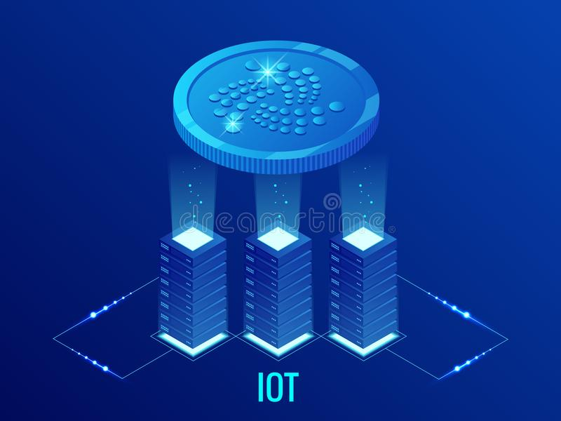 Isometric IOTA Cryptocurrency mining farm. Blockchain technology, cryptocurrency and a digital payment network for stock illustration