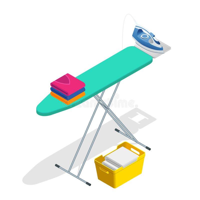 Isometric iron, ironing board and laundry basketf flat style vector illustration on white background. stock illustration