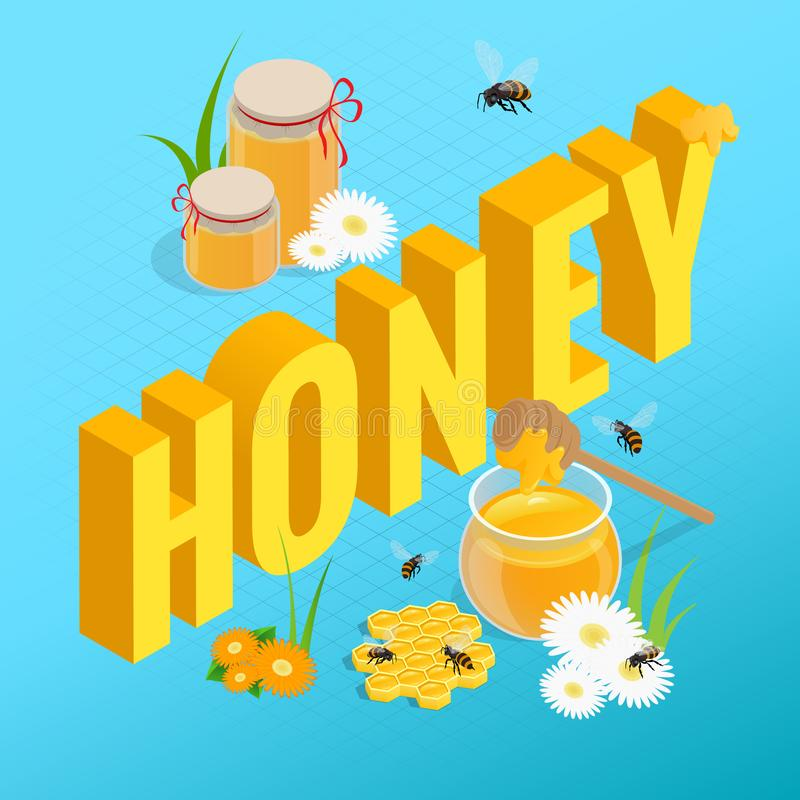 Isometric jars with honey, honeycomb and bee, honey in jar with honey dipper. Cards design template. vector illustration