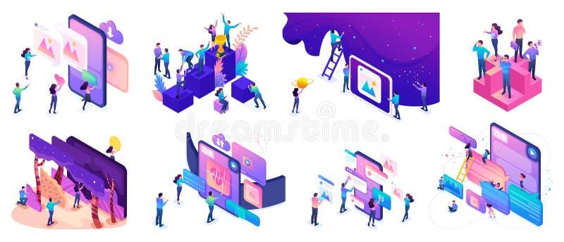 Isometric jaskrawi pojęcia z nastolatkami lub potomstwo przedsiębiorcami tworzyć strony internetowe i rozwijać mobilnych zastosow royalty ilustracja