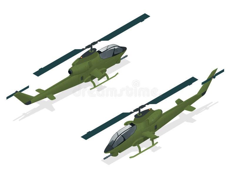 Isometric jednosilnikowy śmigłowiec szturmowy Militarny transport powietrzny royalty ilustracja