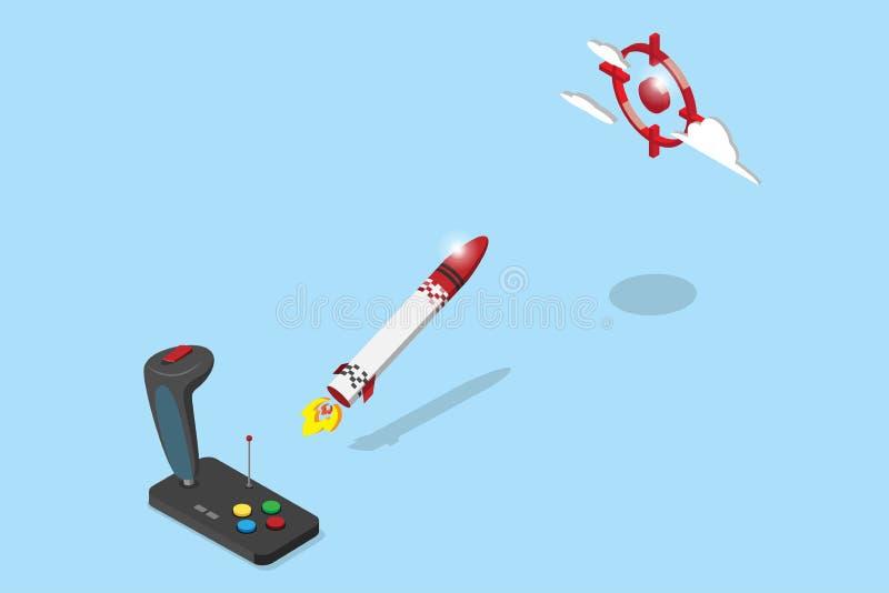 Isometric joystick kontrola rakieta lata czerwony celu, rozpoczęcia i biznesu pojęcie, royalty ilustracja