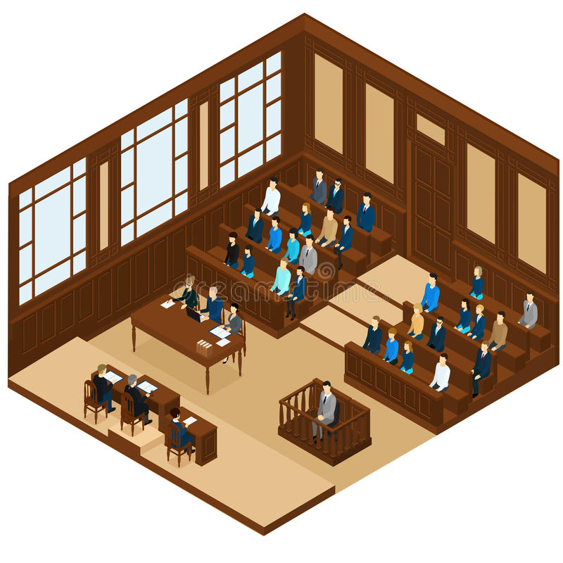 Isometric Judicial Session Room Template. With different people and process of trial judgment vector illustration vector illustration