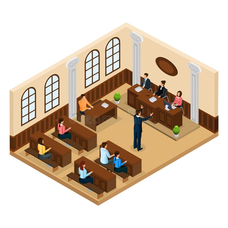 Isometric Judicial System Concept. With lawyer defending his client in courtroom isolated vector illustration stock illustration