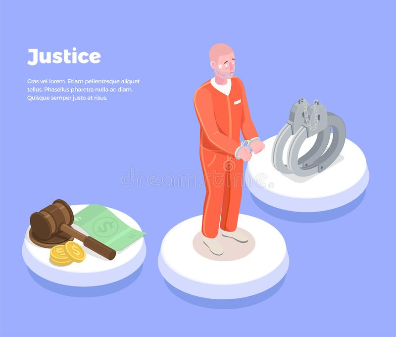 Isometric Justice Guilty Background royalty free illustration