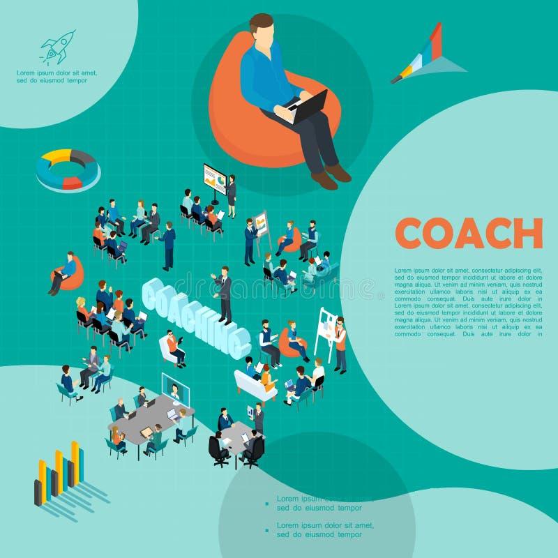 Isometric Kadrowy Biznesowy trenowanie szablon royalty ilustracja